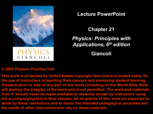 Lecture PowerPoint Chapter 21 Giancoli Physics: Principles with