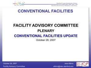 FACILITY ADVISORY COMMITTEE CONVENTIONAL FACILITIES PLENARY CONVENTIONAL FACILITIES UPDATE
