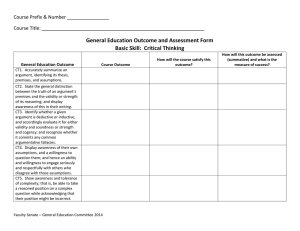 General Education Outcome and Assessment Form Basic Skill:  Critical Thinking