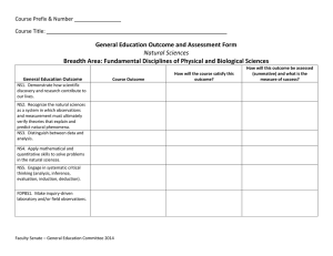 General Education Outcome and Assessment Form Natural Sciences