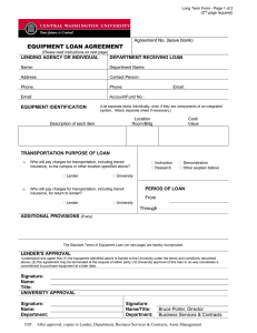 EQUIPMENT LOAN AGREEMENT  Agreement No. (leave blank) LENDING AGENCY OR INDIVIDUAL