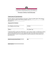 Permission to Release Grade Information Authorization of Grade Disclosure