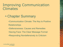 Improving Communication Climates Chapter Summary
