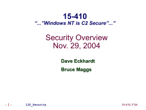 "Security Overview Nov. 29, 2004 15-410 ""...""Windows NT is C2 Secure""..."""