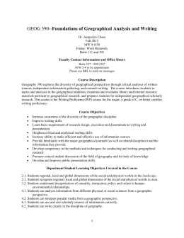 Foundations of Geographical Analysis and Writing