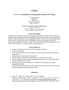 Syllabus Foundations of Geographical Analysis and Writing Course Description