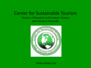 Center for Sustainable Tourism Division of Research and Graduate Studies