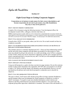 Explore the Possibilities Eight Great Steps to Getting Corporate Support Section 4.5