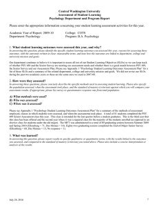 Central Washington University Assessment of Student Learning Psychology Department and Program Report