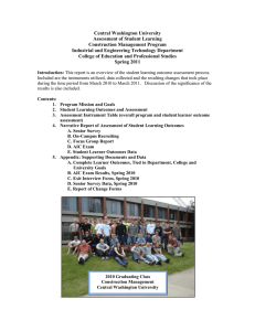 Central Washington University Assessment of Student Learning Construction Management Program