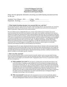 Central Washington University Assessment of Student Learning Department and Program Report