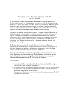 Pilot Program Review – Accounting Department – 2002-2003 Executive Summary