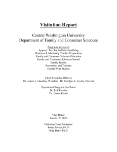 Visitation Report Central Washington University Department of Family and Consumer Sciences