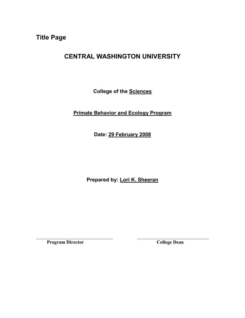 Title Page Central Washington University
