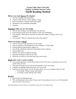 SQ3R Reading Method Grand Valley State University Student Academic Success Center