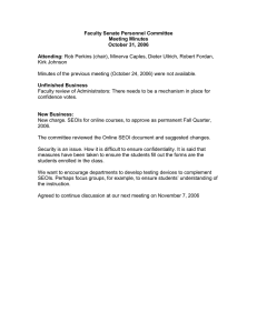 Faculty Senate Personnel Committee Meeting Minutes October 31, 2006 Attending: