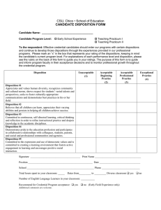 CSU, Chico • School of Education CANDIDATE DISPOSITION FORM