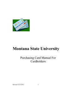 Montana State University Purchasing Card Manual For Cardholders