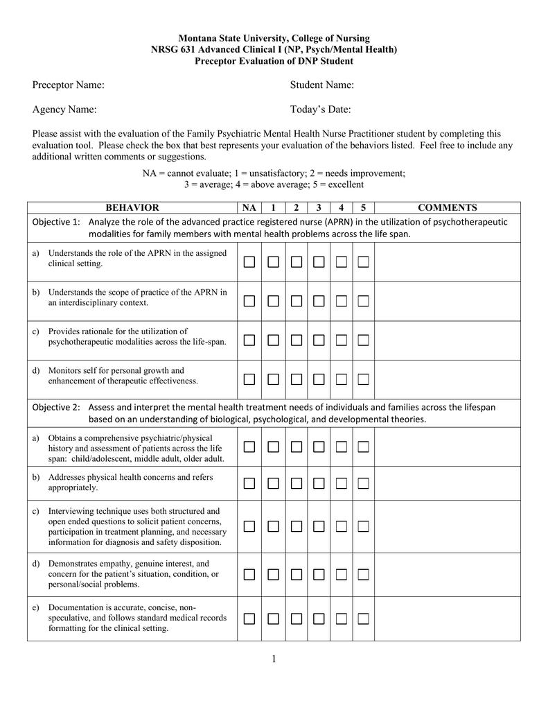 Montana State University College Of Nursing Preceptor Evaluation Of