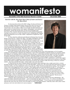 womanifesto Newsletter of the MSU-Bozeman Women's Center     ...  Interview with Dr. Sara Jayne Steen, Dean of Letters and...