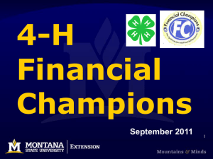 4-H Financial Champions September 2011