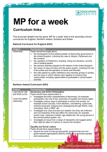 MP for a week Curriculum links