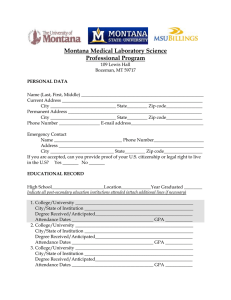 Montana Medical Laboratory Science Professional Program