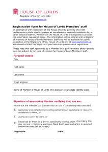 Registration form for House of Lords Members' staff