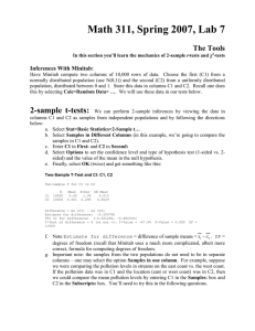 Math 311, Spring 2007, Lab 7  The Tools Inferences With Minitab: