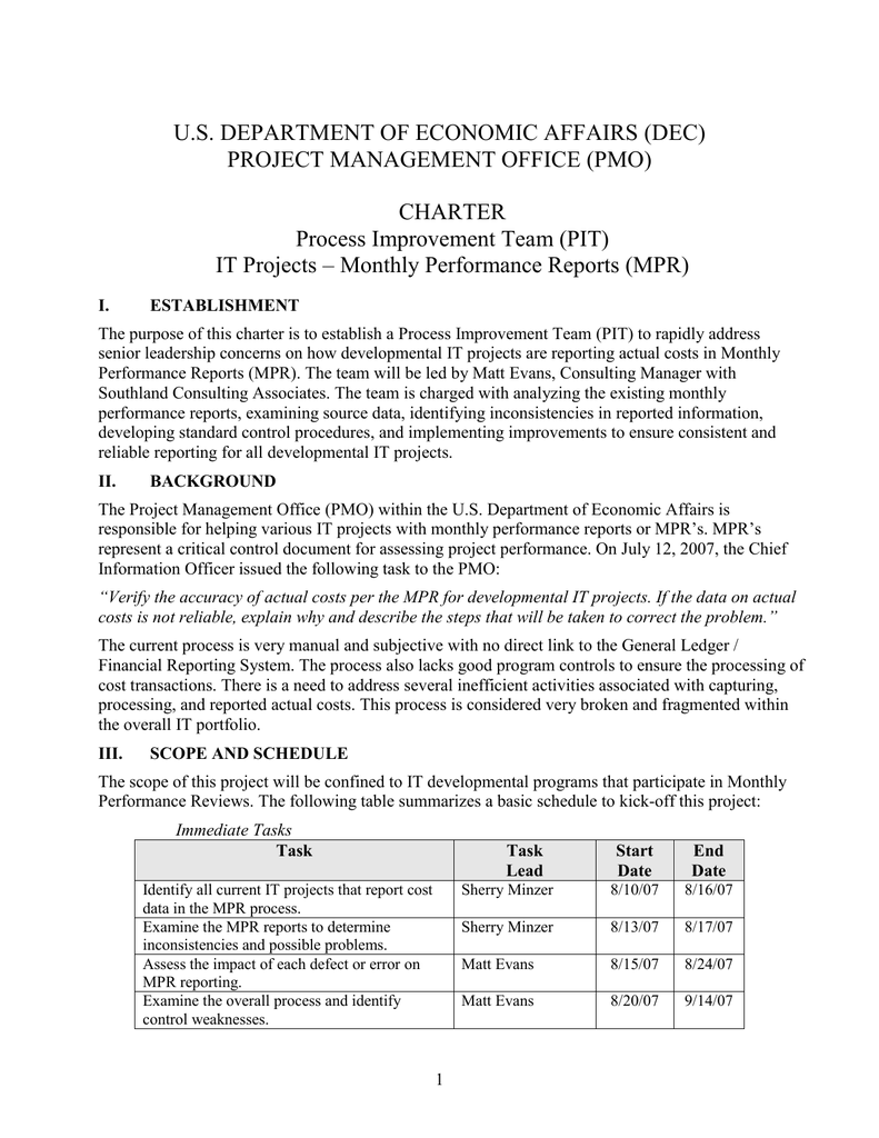 US DEPARTMENT OF ECONOMIC AFFAIRS DEC PROJECT MANAGEMENT OFFICE PMO CHARTER
