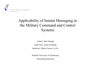 Applicability of Instant Messaging in the Military Command and Control Systems