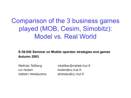 Comparison of the 3 business games played (MOB, Cesim, Simobitz):
