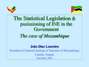 The Statistical Legislation & posissioning of INE in the Government