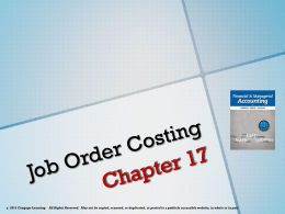 Chapter       Systems Design  Job Order Costing As discussed in MarathonCloud com
