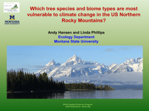 Which tree species and biome types are most Rocky Mountains?