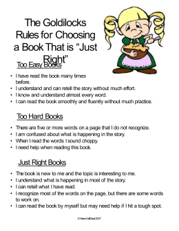 "The Goldilocks Rules for Choosing ""Just a Book That is"