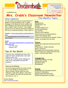 Mrs. Crabb's Classroom Newsletter  This Month's Topics Class Updates