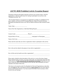 ASCWU-BOD Prohibited Activity Exception Request