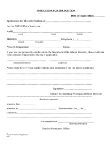 APPLICATION FOR EDR POSITION Date of Application __________