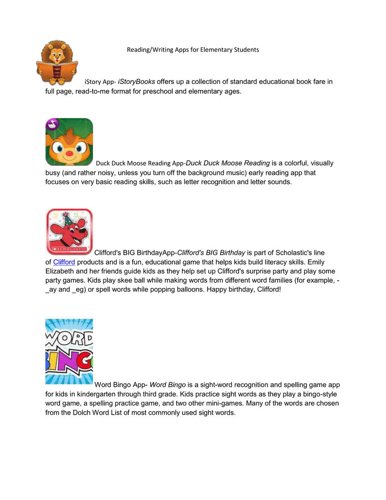 Readingwriting Apps For Elementary Students Istory App