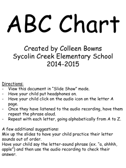 ABC Chart Created by Colleen Bowns Sycolin Creek Elementary School 2014-2015