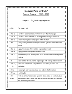 Nine Week Plans for Grade 1 Subject:   English/Language Arts