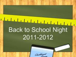 Back to School Night 2011-2012