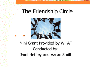The Friendship Circle Mini Grant Provided by WHAF Conducted by: