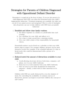 Strategies for Parents of Children Diagnosed with Oppositional Defiant Disorder
