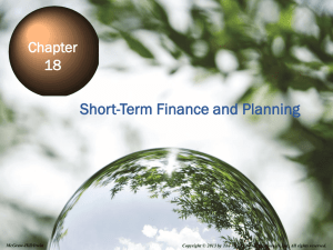 Short-Term Finance and Planning Chapter 18 18-1