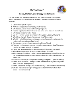 Do You Know? Force, Motion, and Energy Study Guide