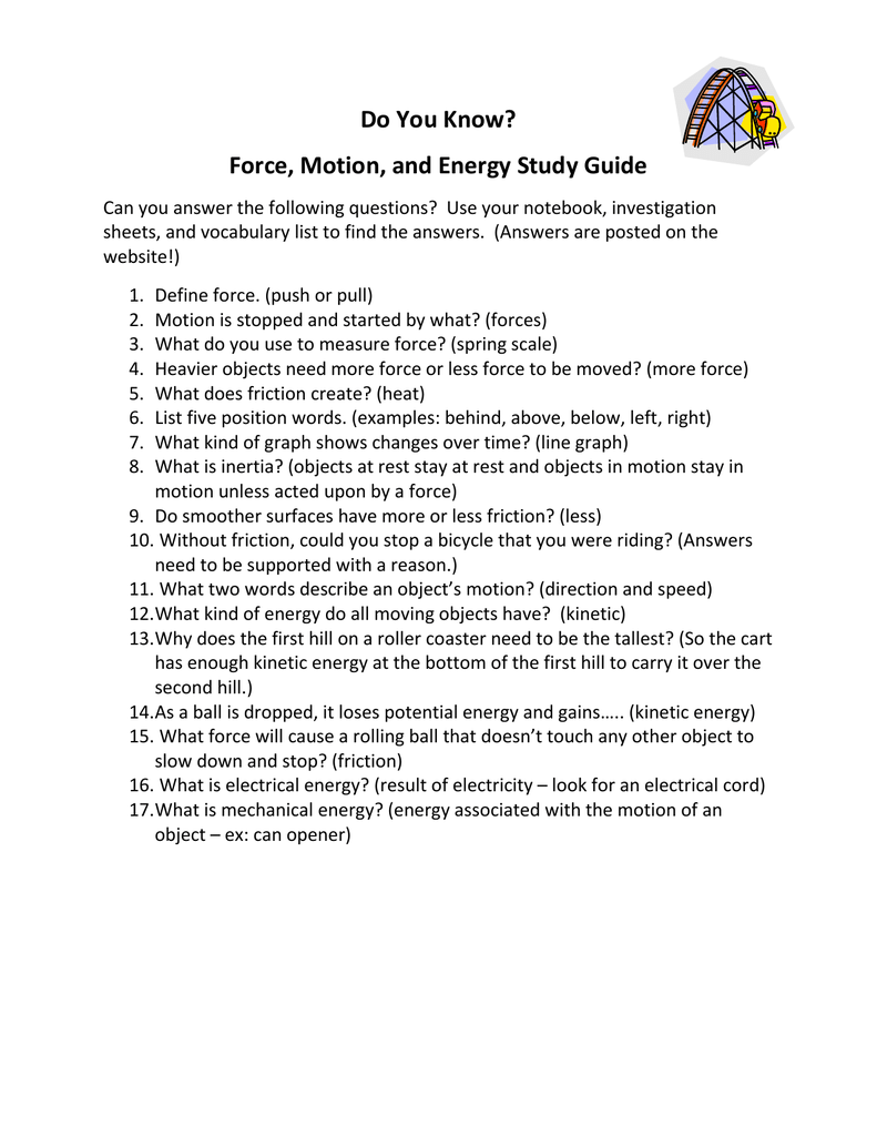 Force, Motion, and Energy Study Guide