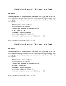 Multiplication and Division Unit Test