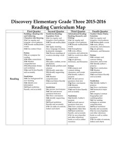 Discovery Elementary Grade Three 2015-2016 Reading Curriculum Map First Quarter